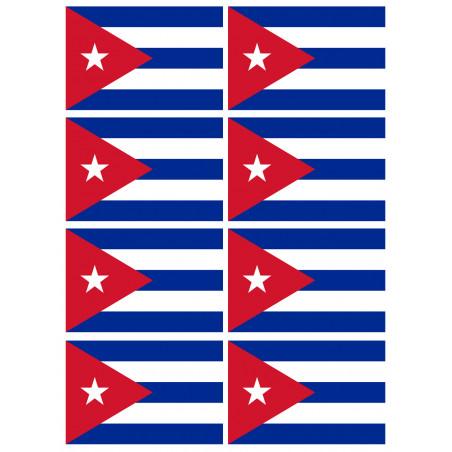 Sticker / autocollant : Drapeau Cuba - 8 stickers - 9.5 x 6.3 cm
