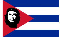 Sticker / autocollant : Drapeau Cuba avec le Che - 9.3x6.3 cm