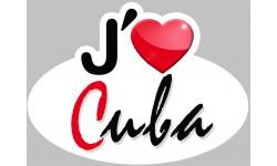 Sticker / autocollant :  j'aime Cuba - 15x11cm