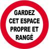 Sticker / autocollant : GARDEZ CET ESPACE PROPRE ET RANGÉ - 5cm