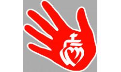 Sticker / autocollant main vendeenne rouge