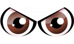 autocollants street art Paire d yeux marrons