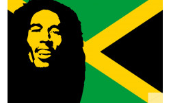 autocollant Bob Marley jamaique 20cm