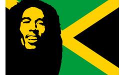 autocollant Bob Marley jamaique 15cm